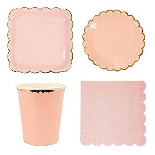 , Einweg Papier Geschirr-Set für Geburtstag Hochzeit Decor (8rund Gerichte, 8quadratisch Gerichte, 8Pappbecher, 20Papier Servietten) rose ()