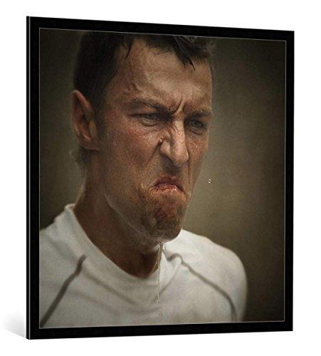 kunst für alle Bild mit Bilder-Rahmen: holger Droste Marathon - dekorativer Kunstdruck, hochwertig gerahmt, 100x100 cm, Schwarz/Kante grau (Bilderrahmen Marathon)