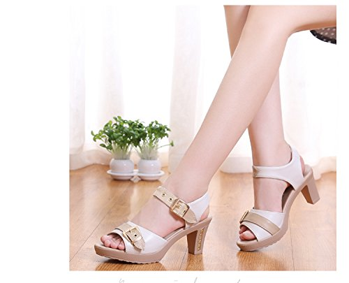 LGK&FA Estate Donna Sandali un nuovo paio di sandali tacchi tacchi tacchi e talloni 33 Nero 38 white