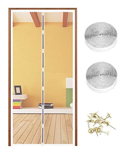 OOTSR Magnet Fliegengitter Tür Insektenschutz 90x210cm und Full Frame Klettband für die Balkontür, Kellertür Und Terrassentür, Kinderleichte Klebemontage Ohne Bohren (Nicht Kürzbar)