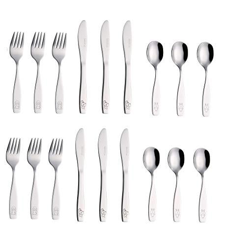 Exzact Couverts enfant en inox 9 Pièces: 3 x Fourchettes, 3 x Couteaux, 3 x Cuillères (Chien-Chat-Lapin)