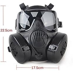 Coxeer M50 Masque de paintball Style masque à gaz noir Noir 22.5*17.5cm