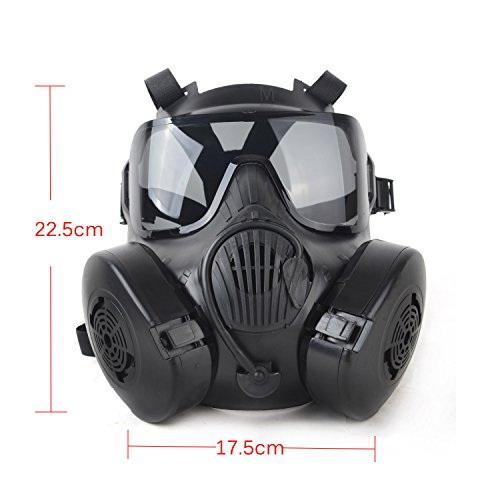 Fancymall-Mask M50 Masque de paintball Style masque à gaz noir Noir 22.5*17.5cm