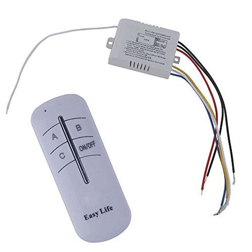 niceEshop(TM) EIN / AUS Licht Digital Funk Wandschalter mit Fernbedienung (Weiß)