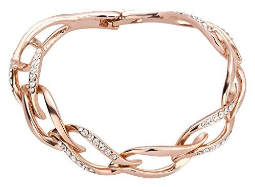 Yourhotstyle Damen- Armband 18k Roségold vergoldet mit klaren Kristallen 18 (Sportliche Kostüm Ideen)