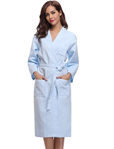 Aibrou Damen Bademantel Saunamantel Frottee Lang Baumwolle Morgenmantel Nachtwäsche Homewear Kleidung V Ausschnitt Blau M