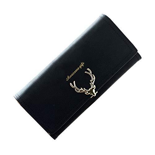 Estampado de Ciervo Monedero Mujer Dulce Carteras Chica Señoras Billetera Tarjetas Negro
