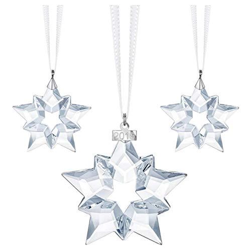 Swarovski - set di 24 decorazioni natalizie in cristallo, colore: bianco