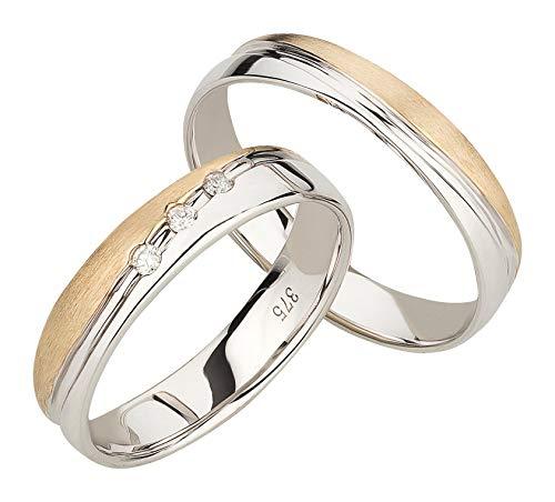Ardeo Aurum Trauringe Damenring und Herrenring aus 375 Gold bicolor Gelbgold Weißgold mit 0,06 ct Diamant Brillant Eheringe Paarpreis