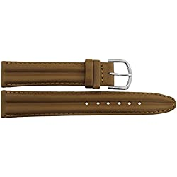 Watch Strap in Brown Leather - 18mm - - buckle in Silver stainless steel - B18BroItr36S