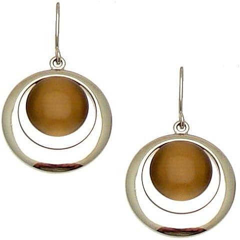 Acosta–topacio marrón piedra de ojo de gato redondo de moda pendientes (tono plateado)–Caja de regalo
