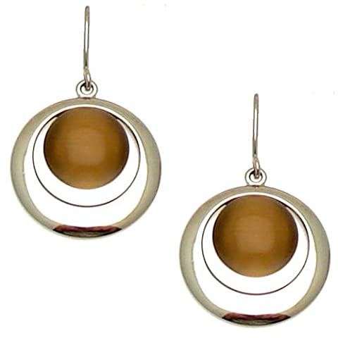 Acosta - Topaz Brown Cats Eye Stone - Round Fashion Earrings (Silver Tone) - Gift Boxed