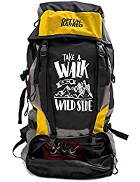 Mufubu Presents Get Unbarred 55 LTR Rucksack for Trekking, Hiking with Shoe Compartment (Black/Yellow)