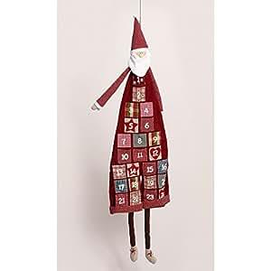 XXL Weihnachtsmann Advents-Kalender zum Auffüllen | Riesen Nikolaus Weihnachts-Kalender mit 24 Taschen | 120 cm großer Christmas-Kalender in Rot mit Punkten | Taschen zum selber füllen je 6x6 cm