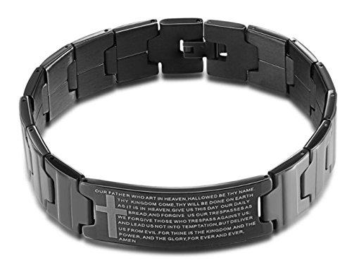 LaFatina Armband mit englischsprachiger Bibel, Edelstahl, mit schwarzer Gravur, religiöses schwarzes Kreuz für Männer und Frauen