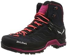 Salewa WS Mountain Trainer Mid Gore-TEX, Chaussures de Randonnée Hautes Femme, Gris (Asphalt/Sangria 989), 37 EU