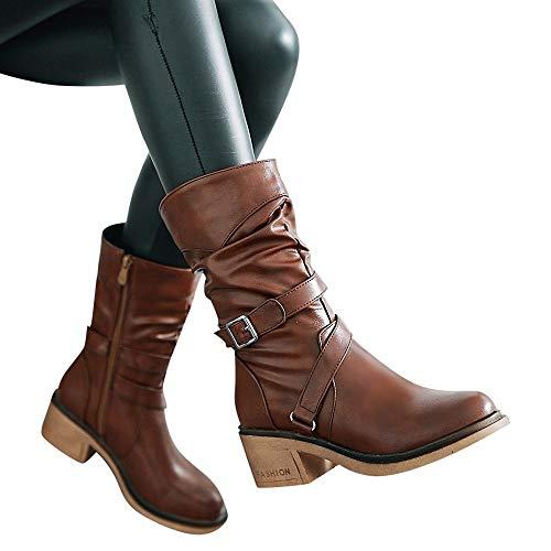 TianWlio Stiefel Frauen Herbst Winter Schuhe Stiefeletten Boots Runde Zehen Schuhe Europäische Warme Feste Quaste Retro Stiefeletten Gelb...
