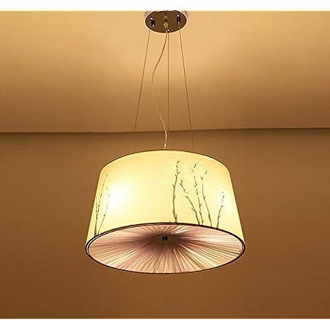 FEI&S tessuto Ciondolo lampada luminosa camera da letto minimalismo moderno Cinese Lanterna creativa illumina il balcone sala da pranzo lampadario lampadario pittura 53*53*30cm,Orchid