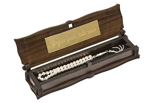 Gök-Türk Gebetskette - 925 Sterling Silber Tesbih mit Schatulle mit IHRER GRAVUR 33 Perlen