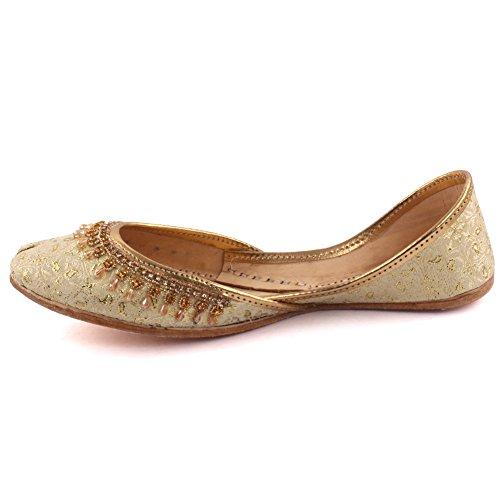 Unzè Unze Signore delle Donne Tradizionale giainismo Cristallo Décor Indiano Casual Scarpe di Cuoio Piatto Khussa Pantofole Formato Britannico 3-8 Oro
