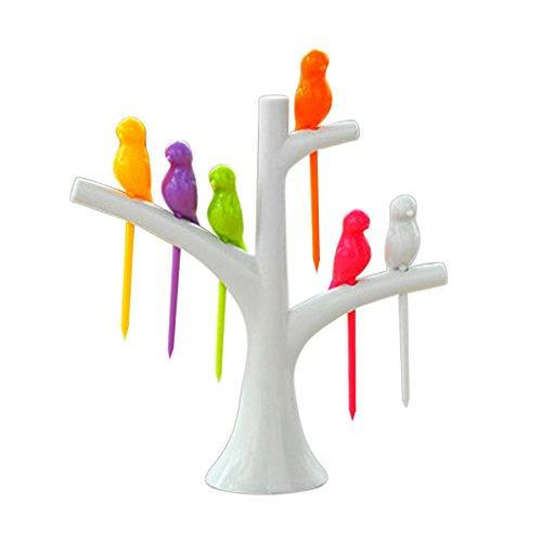 Satz Lebensmittel Obst Gabel Vogel Plastik Baumstamm Halter Tisch Dekor - Weiß, 100ML
