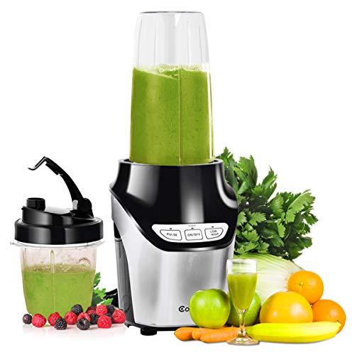 COSTWAY Elektrischer Standmixer, Smoothie Maker aus Edelstahl, Mixer mit 2 Geschwindigkeiten, Universalmixer Schwarz, Küchenmixer inl. Becher, Multimixer 1000 W, Zerkleinerer für Gemüse, Früchte