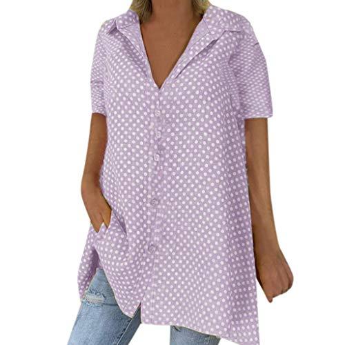B-COMMERCE Mode-Tupfen/gestreifte Druckknopf-unten Bluse für Frauen, lose Kurze Hülse drehen unten Kragen-Obersommer-Hemd-Tunika um - Chambray-ernte