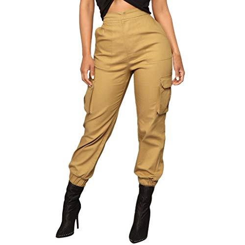 OYSOHE Damen Haremshosen Höhe Taille Einfarbig Elastische Hose Taillenhose Overalls Taschen Cargohosen(Khaki,Small) -