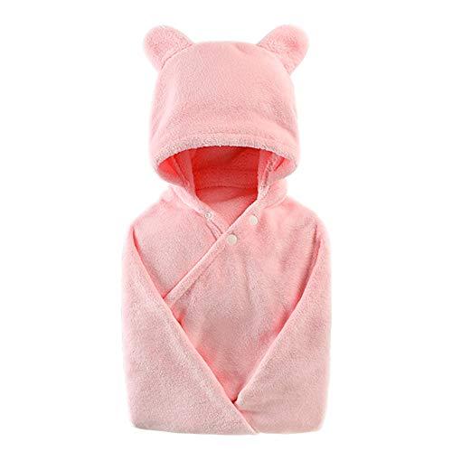 Super Weiche Mädchen-bademantel (Badetuch Baby Kapuze Cape Kind Junge Mädchen Bademantel 100% Baumwolle Super weiches saugfähiges Handtuch Rosa)