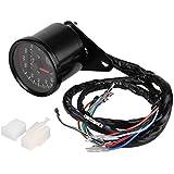 KIMISS Velocímetro universal del cuentakilómetros digital Moto, indicador de tacómetro con indicador ...