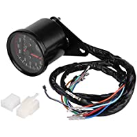 KIMISS Universal Moto Speedometer Digital Odometer Speedometer Tachometer Gauge with LED Indicator(Black)