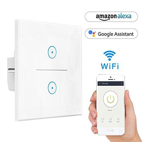 Smart Alexa Lichtschalter, Opard Smart Home Lichtschalter arbeitet mit Amazon Alexa Google Home, geh?rtetes Glas Touchscreen-schalter, Timing-Funktion, ¨¹berlastungsschutz, kein Hub erforderlich (2 Weg)