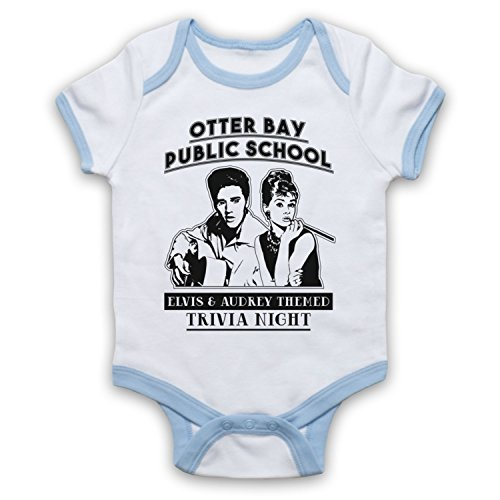 Little Lies Elvis & Audrey Themed Trivia Night Inoffiziell Babystrampler, Weis & Hellblau, 6-12 Monate (Baby-trivia)