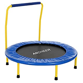 ANCHEER Kids Foldable Trampoline with Padded Handle Bar and Cover, 36 Inch Size Kids Indoor or Outdoor Fitness