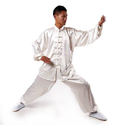 Andux Kampfsport Tai Chi anzug Kung Fu Uniformen Unisex SS-TJF01 Weiß(XXL)