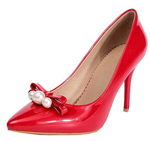 5a3cce5e5ad75d YE Damen High Heels Spitze Stiletto Lack Leder Perlen Pumps Mit Schleife  9cm Absatz Schuhe Rot