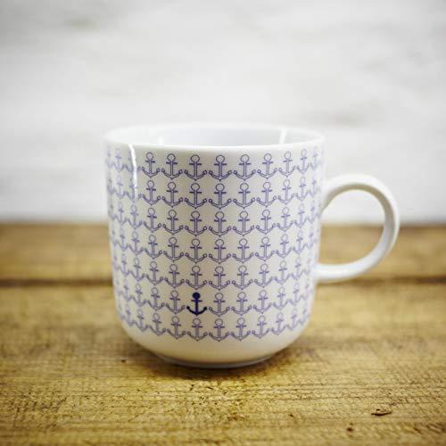 Kaffeebecher - 100% Handmade von Ahoi Marie - Motiv Ankermuster - Maritime Porzellan-Tasse original aus dem Norden -