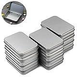 BIEE Silber Metall Rechteckiger Organizer, Leere Kisten, Mini Portable Box kleines Aufbewahrungsset (12er Pack)