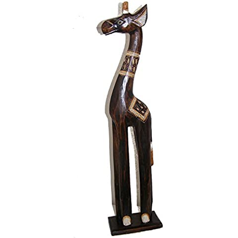 Intagliato a mano in legno naturale piccolo standing giraffa–60cm, commercio equo e solidale