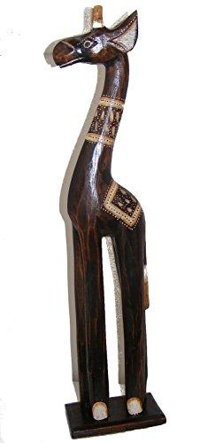 Intagliato a mano in legno naturale piccolo standing giraffa-60cm, commercio equo e solidale