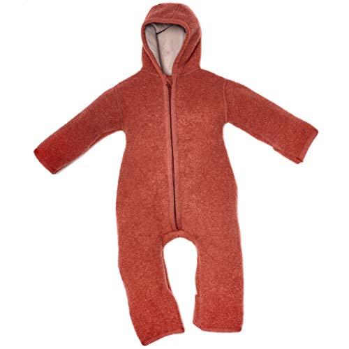 Halfen Walkanzug Baby (100% Made in Germany) - Walk Baby Overall, Babyoverall aus Walkwolle (Bio Natur Schurwolle), Walkoverall mit Kapuze, Farbe: Marone,86/92