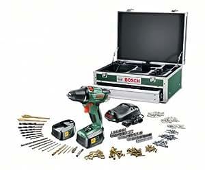 Bosch Boîte à outils incluant Perceuse-visseuse sans fil PSR 18 LI-2 avec embouts et accessoires, 2 batteries et chargeur 0603973307