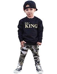 Amlaiworld Conjunto de Ropa de bebé Niños Chicos Tops Camiseta de Letra de bebé + Pantalones de Camuflaje Trajes 12 Mes - 7 Años (Negro, Tamaño:4 Años)