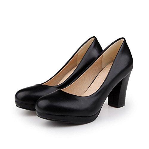 AgooLar Femme Pu Cuir Couleur Unie Tire Rond à Talon Haut Chaussures Légeres Noir