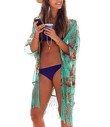 Yuson Girl® Strandkleid Knielang Weiß Strandponcho Badebekleidung für Damen Poncho Damen Sommer Bikini Cover Up