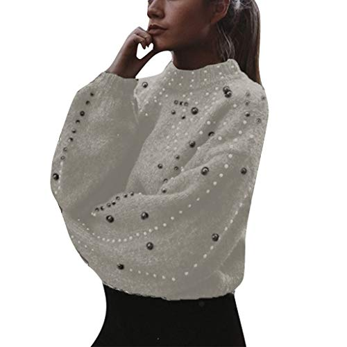 Femme Pull Pas Cher A La Mode Casual Doux Tricoté Sexy Tops Col Rond DéCoration De Perles Pullover Sweaters Blouse (L(EU38), Gris)