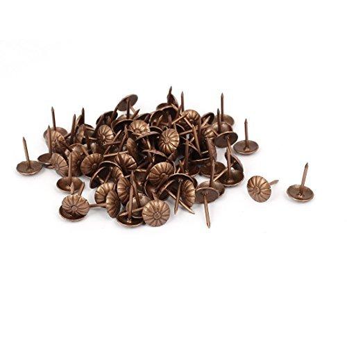 DealMux 7/16 Inch Durchmesser Gänseblümchen-Muster Eisen Polster Tack gewölbter Nagel Kupfer Tone 100 Stück Tack Ton