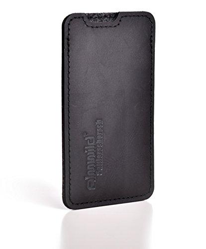 ALMWILD® Hülle, Tasche für Apple iPhone 8, 7, 6 MIT Apple Leder Case / Silikon Case. Aus echtem Rinds- Leder. In Braun. Handyhülle in Bayern handgefertigt. Modell Sattlerschorsch schwarz