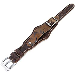 20mm Hezzo Bund Military Style Double-layer Watch Strap, Dark Brown Chesse Holes