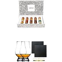 Tastillery Whisky Tasting Probierset Whisky Weltreise in Geschenkbox 5 x 50ml + The Glencairn Glass Whisky Glas Stölzle 2 Stück + Schiefer Glasuntersetzer eckig ca. 9,5 cm Ø 2 Stück